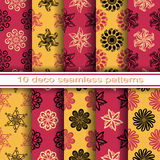 Set of 10 Seamless Decorative Floral Patterns Stock Photos