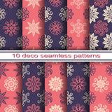 Set of 10 Seamless Decorative Floral Patterns. Vector Set of 10 Seamless Decorative Floral Patterns royalty free illustration