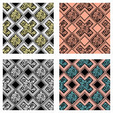 Set of seamless  decorative hand drawn patterns. ethnic endless background with ornamental decorative elements with traditio. Nal etnic motives, tribal geometric Royalty Free Stock Photos