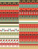 Set of seamless decorative patterns and ribbons Stock Photography