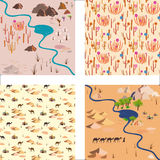 Set seamless desert pattern with river, palms and  rocks Royalty Free Stock Photos