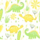 Set of seamless dinosaur patterns and Botanical illustration. Lemon and lime. Dinosaurs walking in a meadow with flowers. For the stock illustration