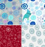 Set of Seamless doodle background Royalty Free Stock Photo