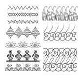 Set of seamless doodle borders with boho patterns. Brushes. Vector element for invitations, cards, cards and your creativity Royalty Free Stock Photo