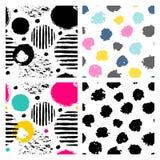 Set of 4 seamless doodle patterns vector illustration
