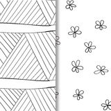 Set of seamless doodle patterns. Hand-drawn decorative elements in vector. Pattern for coloring book. Black and white. Set of seamless dooodle patterns. Hand Royalty Free Stock Images