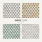 Set of seamless doodle patterns like fish scale. Texture for web, prints, wallpaper, home decor, textile, invitations or website Royalty Free Stock Photos