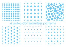 Set of seamless dotted patterns. Polka dot backgrounds. Abstract textures. Blue backdrops vector illustration