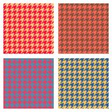 Set of seamless duotone textile patterns. Chekered ornament houndstooth, hounds tooth check, hound`s tooth, dogstooth, dogtooth vector illustration