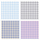 Set of seamless duotone textile patterns. Chekered ornament houndstooth, hounds tooth check, hound`s tooth, dogstooth, dogtooth Royalty Free Stock Photography