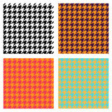 Set of seamless duotone textile patterns. Chekered ornament houndstooth, hounds tooth check, hound`s tooth, dogstooth, dogtooth. Stock Photos