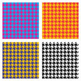 Set of seamless duotone textile patterns. Chekered ornament houndstooth Royalty Free Stock Images