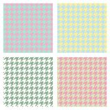 Set of seamless duotone textile patterns. Chekered ornament houndstooth, hounds tooth check, hound`s tooth, dogstooth, dogtooth royalty free illustration