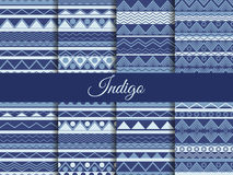 Set seamless ethnic pattern, tribal texture, hippie style. The color indigo, the summer trend. Royalty Free Stock Photos