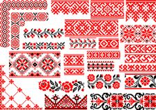 Set of 25 Seamless Ethnic Patterns for Embroidery Stitch. Collection of 25 editable colorful seamless ethnic patterns for embroidery stitch. Borders and frames Royalty Free Stock Photo