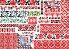 Set of 30 Seamless Ethnic Patterns for Embroidery Stitch stock illustration