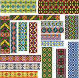 Set of Seamless Ethnic Patterns for Embroidery Stitch Stock Photo