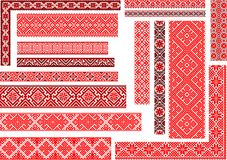 Set of 15 Seamless Ethnic Patterns for Embroidery Stitch. Set of 15 editable colorful seamless ethnic patterns for embroidery stitch. Borders and frames Stock Photos