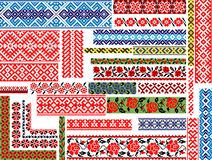 Set of 30 Seamless Ethnic Patterns for Embroidery Stitch. Set of 30 editable colorful seamless ethnic patterns/ornaments for embroidery stitch, floral and royalty free illustration