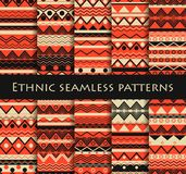 Set of seamless in ethnic style. Tribal textiles, hippie style. For wallpaper, bed linen, tiles, fabrics, backgrounds. Vector. Illustration Stock Photos