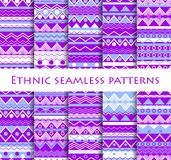 Set of seamless in ethnic style. Tribal textiles, hippie style. For wallpaper, bed linen, tiles, fabrics, backgrounds. Vector. Illustration Royalty Free Stock Images