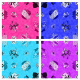 A set of seamless fabric textured floral patterns  Royalty Free Stock Image