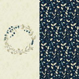 Set with seamless field flower pattern and a card with circle flower frame Royalty Free Stock Photography