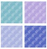 Set of seamless fine circle patterns. Circle flaky patterns in retro colors. Collection of flaky patterns in different color varia Stock Image