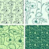Set of 4 seamless floral backgrounds Royalty Free Stock Photography
