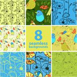 Set of 8 seamless floral backgrounds. This is file of EPS10 format Stock Image