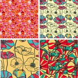 Set of 4 seamless floral backgrounds. This is file of EPS10 format Stock Images