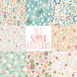 Set of seamless floral backgrounds. Set seamless floral pattern with dragonflies, butterflies, bees Stock Photo