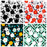 Set of seamless floral backgrounds. Seamless floral pattern with. Hand drawn flowers. Spring and summer flowers. Vector illustration stock illustration