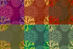 Set of 6 seamless floral backgrounds. Set of 6 vector seamless abstract floral autumn backgrounds Stock Images