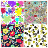 Set of seamless floral backgrounds. Vector illustration. Set of seamless floral backgrounds. Seamless floral pattern with hand drawn flowers. Spring and summer royalty free illustration