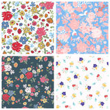Set of seamless floral backgrounds. Vector illustration. Set of seamless floral backgrounds. Seamless floral pattern with yellow, red, pink hand drawn flowers royalty free illustration