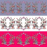 Set of seamless floral borders. Decorative ornament. With beautiful doodle flowers. Vector illustration Stock Photos