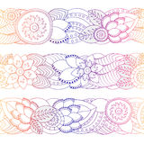 Set of seamless floral  doodle  pattern. border. stock. Illustration Royalty Free Stock Photo