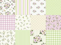 Set of seamless floral and geometric patterns for scrapbooking. Vector illustration. Royalty Free Stock Image