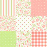Set of seamless floral and geometric patterns. Vector illustration.
