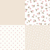 Set of seamless floral and geometric pink and beige patterns. Vector illustration. Vector set of seamless floral and geometric patterns in pink, beige and white Stock Photography