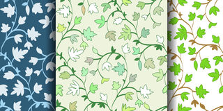 Set: 3 Seamless floral pattern with branches and leaves, abstract texture, endless background. Vector illustration. Stock Image