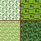Set of seamless floral pattern. Green spring and summer colors background Royalty Free Stock Photography