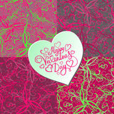 Set of 4 seamless floral pattern with hearts on blurred background Stock Photo