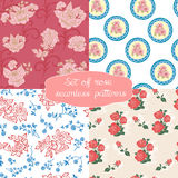 Set of seamless floral pattern with rose Stock Images