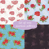 Set of seamless floral pattern with rose Stock Image