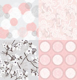 Set of seamless floral patterns.  Royalty Free Stock Image