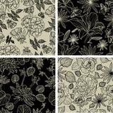 Set of seamless floral patterns. Vector set of seamless floral patterns with spring flowers vector illustration
