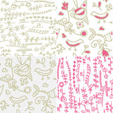 Set of seamless floral patterns with birds Stock Images