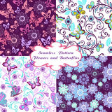 Set of seamless floral patterns with butterflies and hearts. Vector illustration Stock Photo